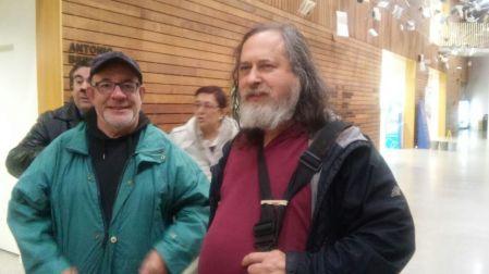 Richard Stallman,con nuestro compañero Juantxo Dominguez del Circulo Ametzagaña